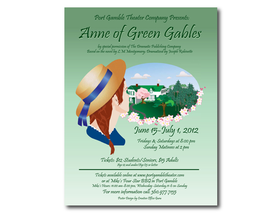 Poster Design for Anne of Green Gables, Port Gamble Theater, Port Gamble, WA