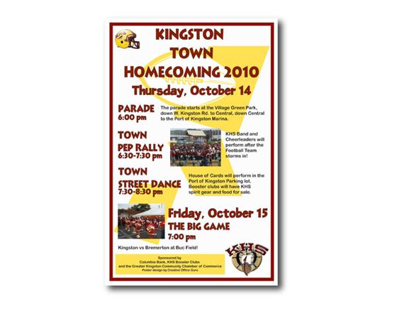 Poster design for Chamber-sponsored HomecomingParade, Kingston, WA