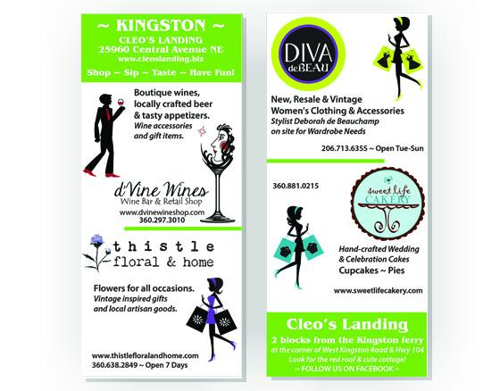 Rack card design for Cleo's Landing (shopping plaza) in Kingston, WA