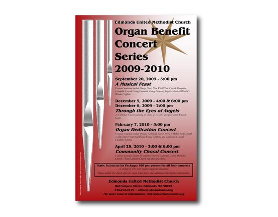 Poster Design for Organ Concert Series - Edmonds United Methodist Church, Edmonds, WA