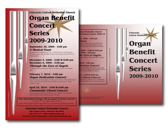 Concert Series Marketing Materials for Edmonds United Methodist Church, Edmonds, WA