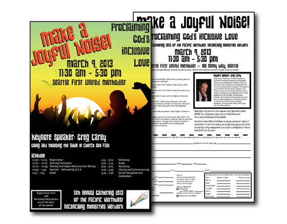 PNW-Reconciling Ministries poster & registration for 2013 gathering (Puget Sound region, WA)